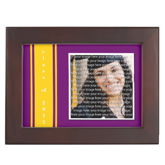 Purple & Gold School Color Graduation Keepsake Keepsake Box