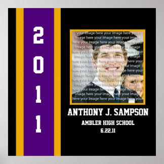 Purple & Gold School Graduation Framed Wall Art Poster
