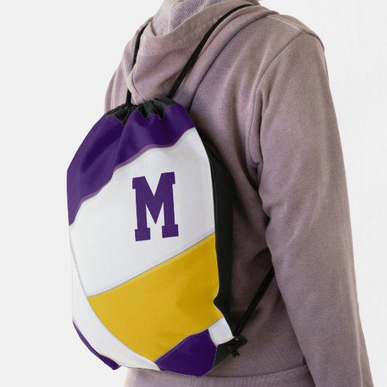 purple gold school spirit boys girls volleyball drawstring bag