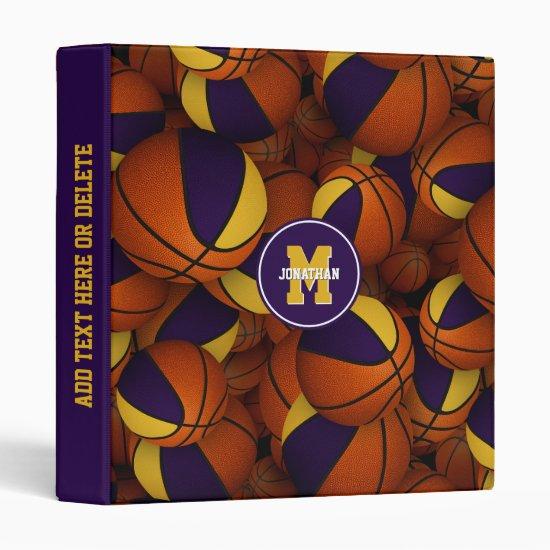 purple gold school team colors basketball pattern 3 ring binder