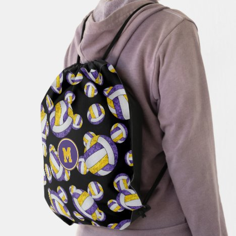 purple gold school team colors girly volleyballs drawstring bag