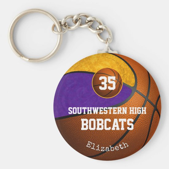 purple gold school team spirit girls' basketball keychain