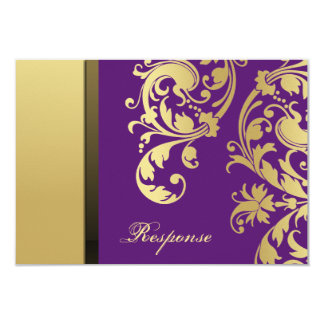 Purple & Gold Shimmer Floral Wedding Response RSVP 3.5x5 Paper Invitation Card