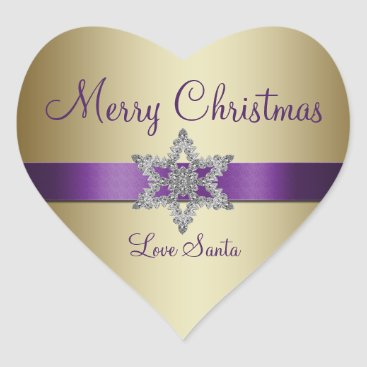 Christmas Themed Purple Gold Snowflake Merry Christmas Sticker