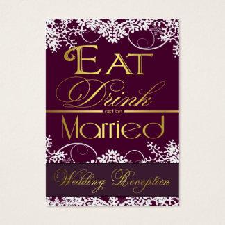 Purple & Gold Snowflake Wedding Reception Cards