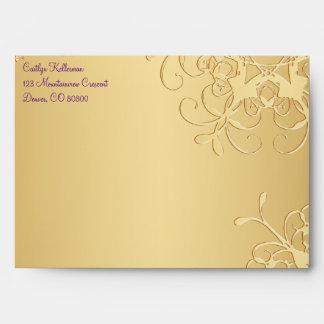 "Purple, Gold Snowflakes Envelope for 5""x7"" Sizes"
