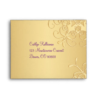 Purple, Gold Snowflakes Envelope for RSVP Card