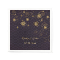 purple gold Snowflakes personalized wedding napkin