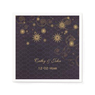 purple gold Snowflakes personalized wedding napkin