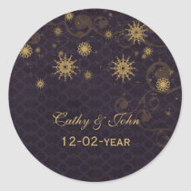 purple gold Snowflakes wedding favor stickers