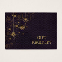 purple gold Snowflakes wedding gift registry Business Card