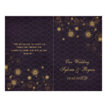 purple gold Snowflakes wedding programs folded