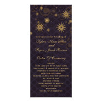 purple gold Snowflakes wedding programs tea length
