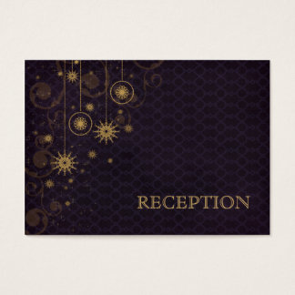 purple gold Snowflakes wedding reception invite