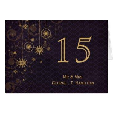 purple gold Snowflakes wedding table numbers