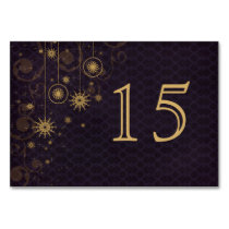 purple gold Snowflakes wedding table numbers Card