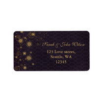 purple gold Snowflakes Winter address label