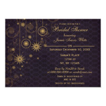 purple gold Snowflakes Winter Bridal Shower Invite