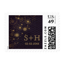 purple gold  Snowflakes Winter personalized stamps