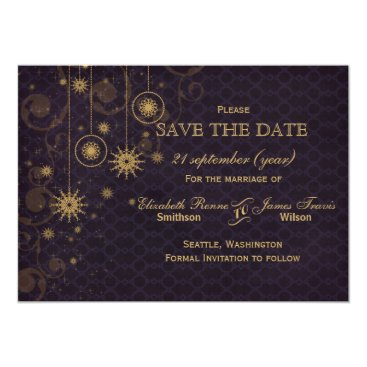 purple gold Snowflakes Winter  save the date Card