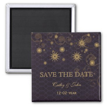 purple gold Snowflakes Winter save the Date Magnet
