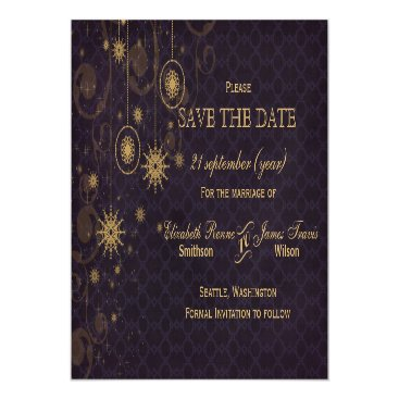 purple gold Snowflakes Winter save the date Magnetic Card