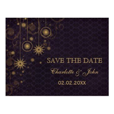 purple gold Snowflakes Winter save the Date Postcard