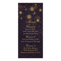 purple gold Snowflakes Winter wedding menu cards