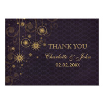 purple gold Snowflakes Winter  wedding Thank You Card
