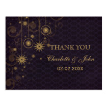 purple gold Snowflakes Winter wedding Thank You Postcard
