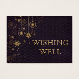 purple gold Snowflakes Winter wedding wishing well Business Card