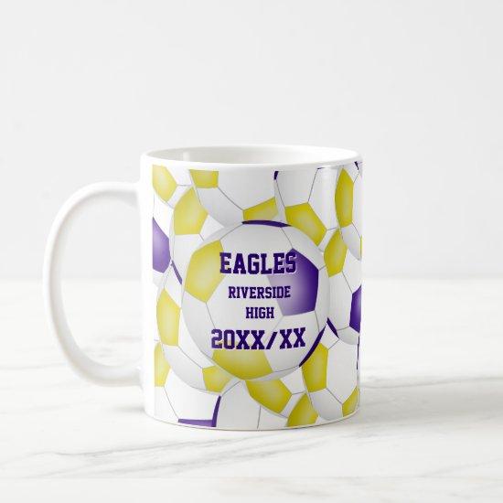 purple gold soccer school team colors coach gift coffee mug