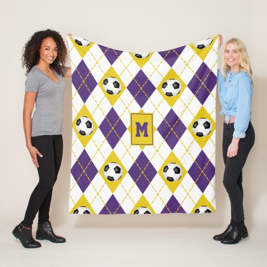 purple gold soccer team colors argyle pattern fleece blanket
