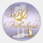 Purple Gold Sparkle 50 & Fabulous Birthday Sticker