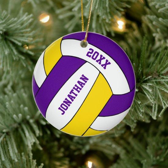 purple gold sports team colors boys volleyball ceramic ornament
