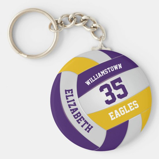 purple gold sports team colors volleyball keychain