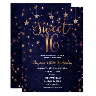 Purple & Gold Stars Celestial Sky Sweet 16 Party Card