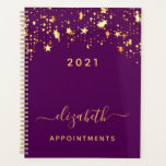 "Purple gold stars elegant girly appointments 2021 planner<br><div class=""desc"">A stylish girly and feminine dark purple colored background with shining faux gold stars dripping, drips. Personalize and add a year 2021, name, and title. A planner for organizing business clients, to do lists, or your daily life. The name is written with a large trendy hand lettered script with swashes....</div>"