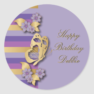 Purple & Gold Stripes with Butterfly & Flowers Classic Round Sticker