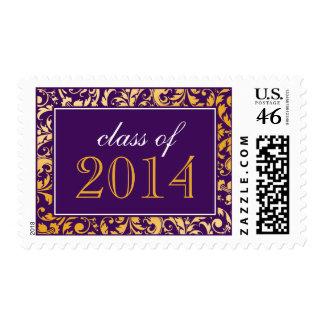 Purple Gold Swirl Damask Class of 2014 Graduation Postage Stamps