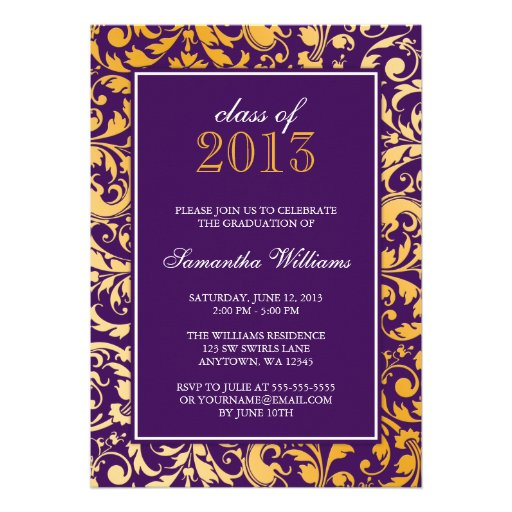 Purple Gold Swirl Damask Graduation Announcement (front side)
