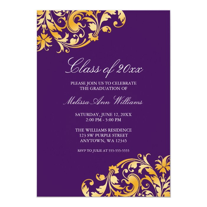 Purple Gold Swirl Graduation Party Announcement | Zazzle