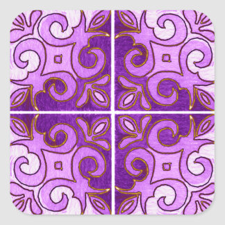 Purple Gold Swirl Inspired by Portuguese Azulejos Stickers