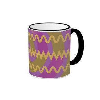 Purple Gold Swirls Waves Chevron Pattern Ringer Mug
