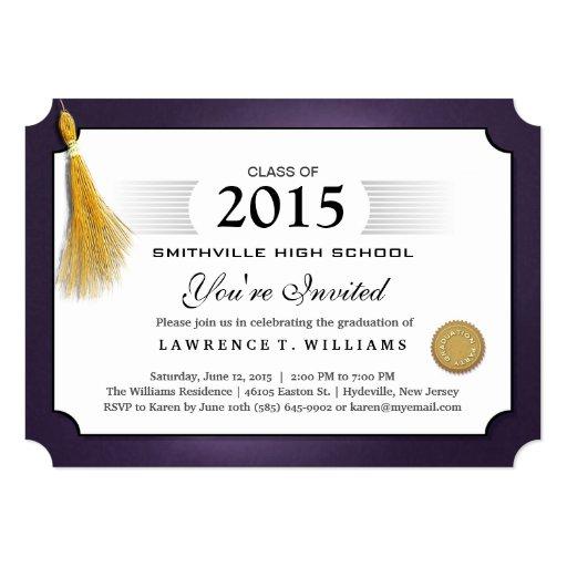 Purple & Gold Tassel Diploma Graduation Invitation