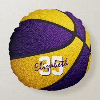 purple gold team colors girl boy basketball decor round pillow