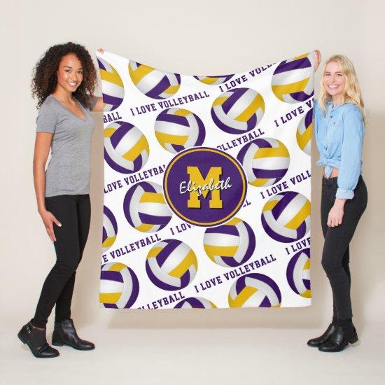 purple gold team colors I love volleyball pattern Fleece Blanket