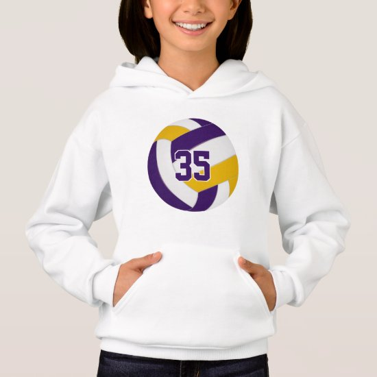purple gold team colors jersey number volleyball hoodie