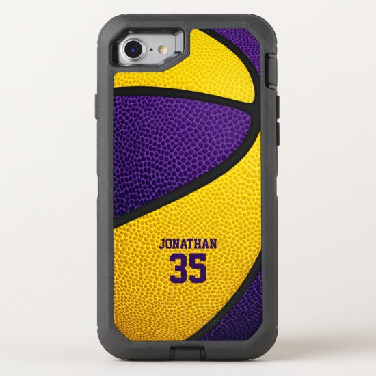 purple gold team colors personalized basketball OtterBox defender iPhone SE/8/7 case