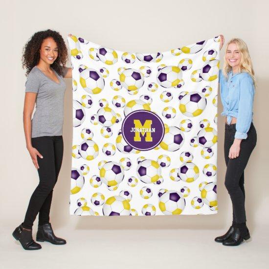 purple gold team colors soccer balls pattern fleece blanket